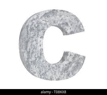 Concrete Capital Letter - C isolated on white background. 3D render Illustration - Stock Image