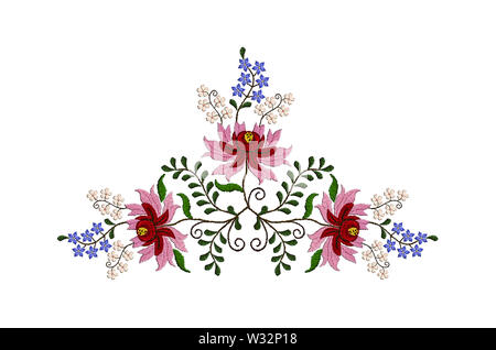 White background with embroidered bouquet with red and pink petals on flowers and small blue and white flowers on twisted branches with leaves - Stock Image