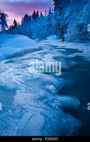 Cold winter evening by the river Hobølelva, Østfold, Norway. - Stock Image