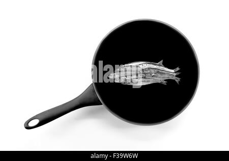 Fish in a frying pan - Stock Image