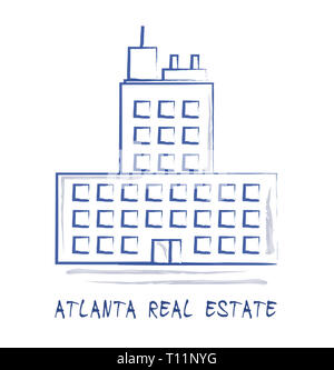 Atlanta Real Estate Icon Represents Housing Investment And Ownership. Selling Property In The Usa 3d Illustration. - Stock Image