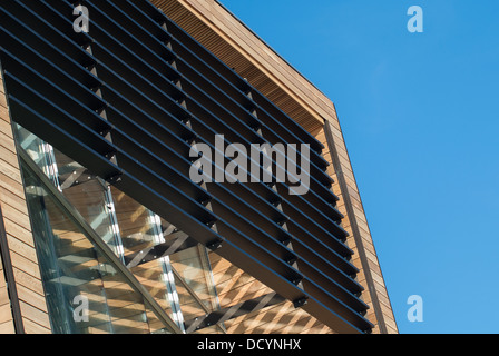 Exterior of Splashpoint, a swimming pool in Worthing showing the wooden exterior and exterior blinds - Stock Image