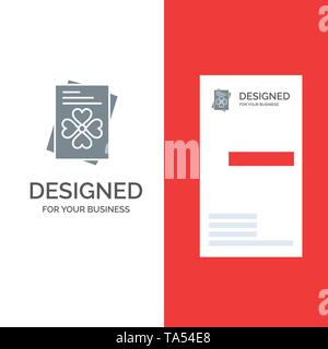 Passport, World, Ireland Grey Logo Design and Business Card Template - Stock Image