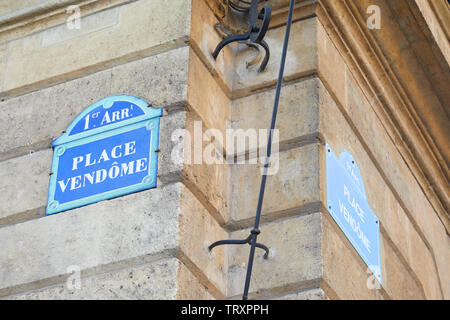 Famous Place Vendome street sign and corner in Paris, France - Stock Image