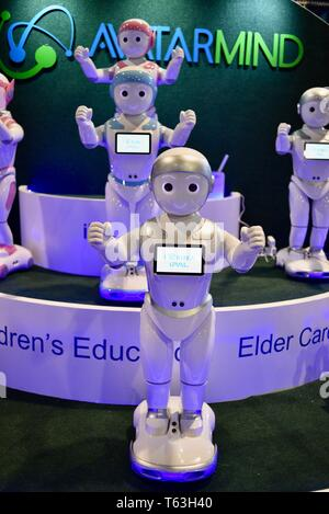 AvatarMind's iPal cute, humanoid, real robot for kids, elder care on display at the CES (Consumer Electronics Show) trade show in Las Vegas, USA - Stock Image