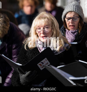 The Wellesbourne Community Choir performing at the Joseph Arch centenary day outside. - Stock Image