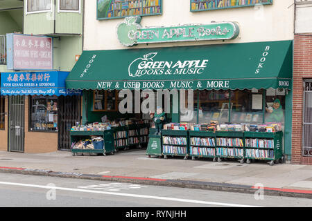 Green Apple Books & Music, Clement Street, San Francisco, California, USA - Stock Image