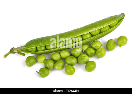 fresh green peas  with pod isolated on  white background. - Stock Image