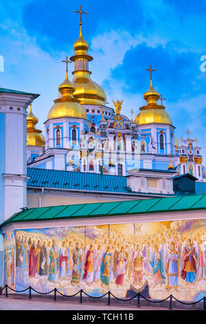 Painted mural on the wall of  St. Michael's Golden-Domed Monastery, Kiev, Ukraine - Stock Image