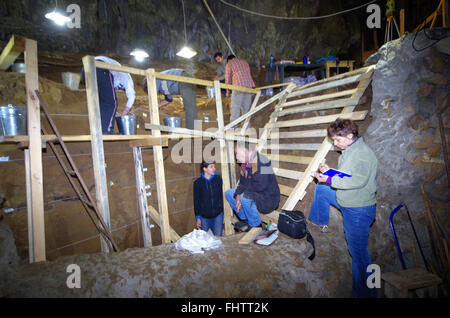 International archaeological expedition conducted excavations in the cave Bacho Kiro - Bulgaria. They found evidence - Stock Image