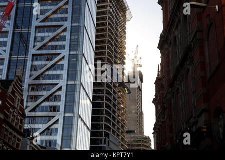 Winter image of construction in London City England outside of Liverpool street station bishopsgate - Stock Image