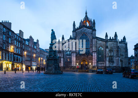 EDINBURGH, SCOTLAND - FEBRUARY 9, 2019 - St Giles Cathedral, built on an ancient sanctuary, is dedicated to St Giles, patron saint of the lepers - Stock Image