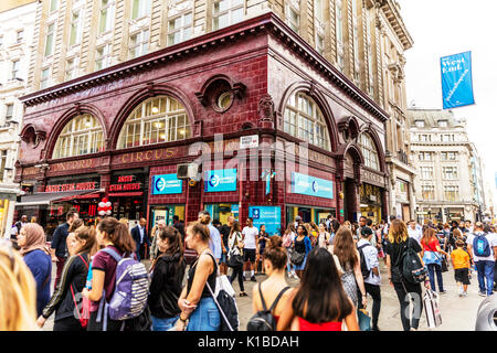 Oxford Circus Station London UK, Oxford Circus Station, Oxford Circus Station outside, Oxford Circus busy London, Oxford Circus London UK, London UK - Stock Image