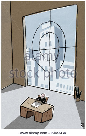 crosshair on window towards competition - Stock Image