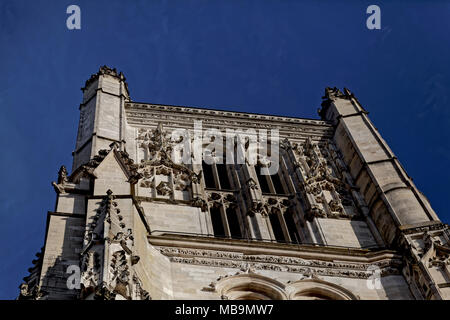 Cathedrale Saint-Etienne, Meaux (Meaux Cathedral), Meaux, Seine-et-Marne, Île-de-France, near Paris, seen from Rue Bossuet - Stock Image