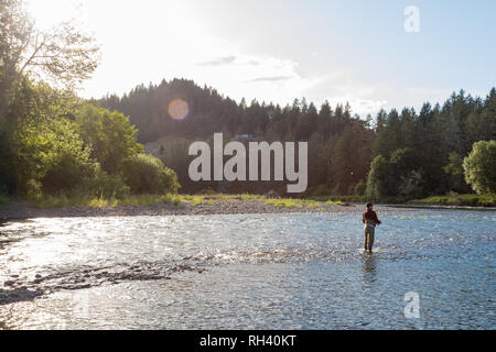 McKenzie River Oregon Fly Fishing Trip in May - Stock Image