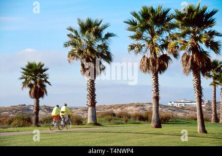 California Ventura County Mandalay Beach bikers palms - Stock Image
