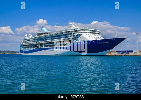 Marella Cruises cruise ship Marella Discovery 2 moored at terminal crociere katakolo in port of Katakolon Greece Europe - Stock Image