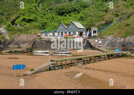 23 June 2018: Newquay, North Cornwall, UK - Crantock Beach with the Fern Pit Ferry and Path. - Stock Image