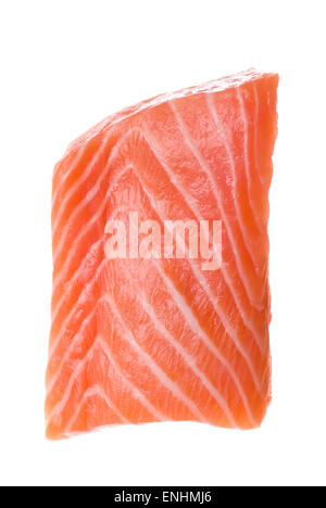 Raw fresh salmon fillet on white background. - Stock Image