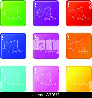 Dragon wing icons set 9 color collection - Stock Image