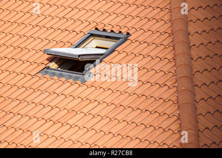 Roof with vasistas or velux windows - Stock Image