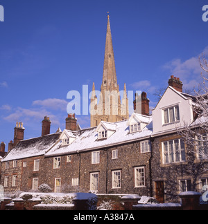 Norwich Cathedral UK in winter with snow - Stock Image