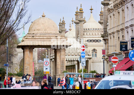 Side view of the Royal Pavilion, in Brighton, seen from the street. The current look of the Pavilion was designed - Stock Image