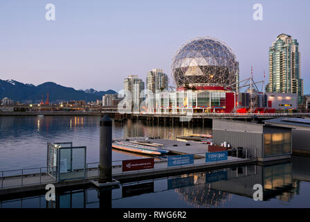 Telus World of Science dome on False Creek in Vancouver, BC, Canada. Science World Vancouver at dusk. - Stock Image