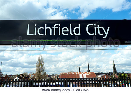 Lichfield City - destination sign at a railway station for the Staffordshire city. UK. - Stock Image