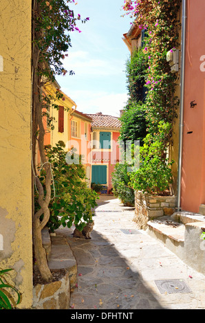 Street in late summer in Bormes les Mimosas, Provence, France - Stock Image