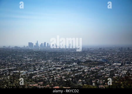 The Los Angeles skyline seen from the Griffith Observatory. - Stock Image
