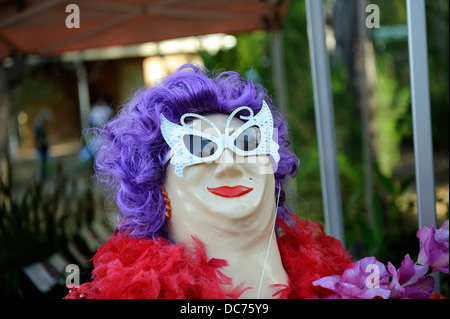 Scarecrow dressed as Dame Edna Everage - Stock Image