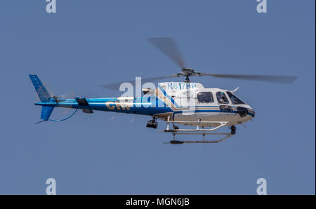 California Highway Patrol helicopter on patrol. - Stock Image