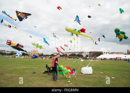 Portsmouth, UK. 15th August 2015. Southsea Common and the sky above it is filled with kites of all shapes and sizes - Stock Image