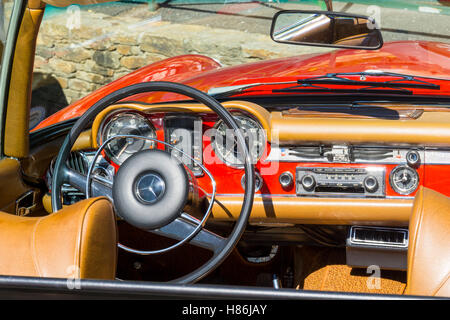 Mercedes-Benz W113 280 SL seen in the village of Grimaud, Var, South of France - Stock Image