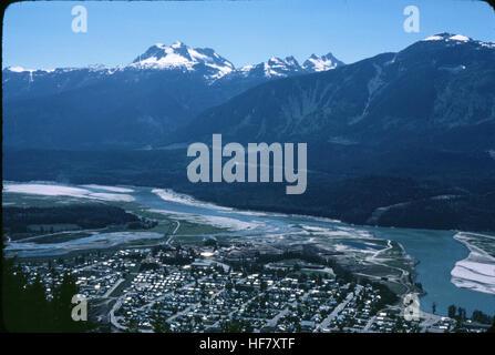 Town of Revelstoke and Mt. Begbie; Revelstoke National Park, British Columbia, Canada. - Stock Image