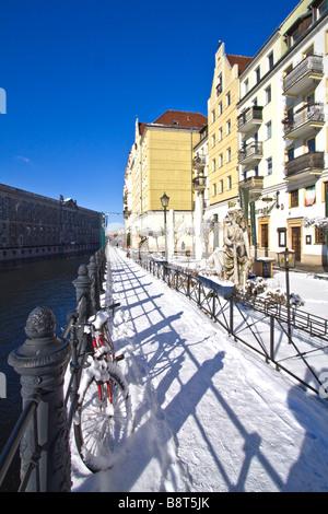 Nikolai quarter winter snow Berlin center Germany - Stock Image