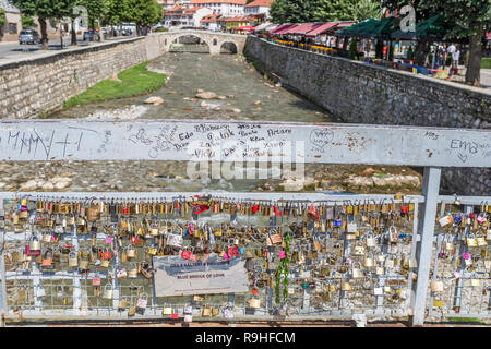 Blue bridge of Love and in distance,15th century Stone Bridge, Old town, Prizren, Kosova - Stock Image