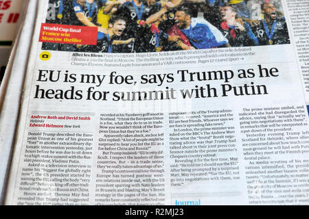 'EU is my foe, says Trump as he heads for summit with Putin' newspaper headline article in the Guardian London UK 16 July 2018 - Stock Image