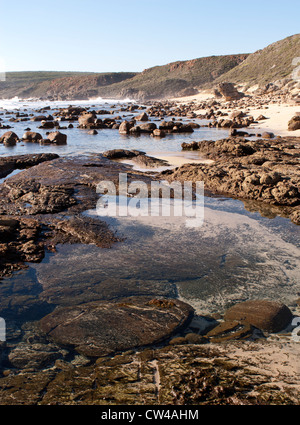 Rockpools at Moses Rock Beach, Western Australia - Stock Image