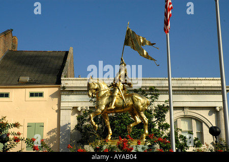 New Orleans LA Louisiana French Quarter Maid of Orleans or Joan of Arc gold-colored statue - Stock Image