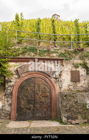 Bernkasteler Doctor Dr Thanisch wine cellar (doktor keller) ornate door underneath the vineyard, Bernkastel-Kues, Germany, Europe - Stock Image
