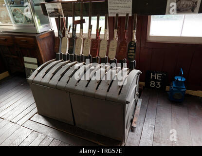A lever frame which originally came from  Folkstone West Railway Station Siding Yard, at the East Kent Railway Trust,  Station Road,  Shepherdswell - Stock Image