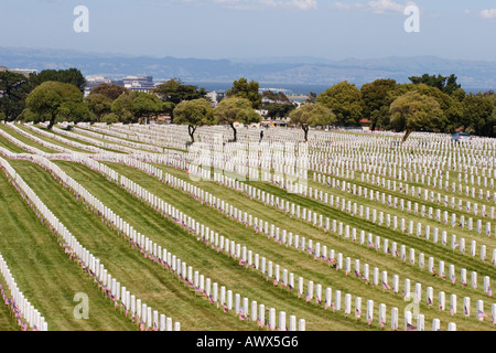 Rows of grave stones at Golden Gate National Cemetery on Memorial Day 2006, San Francisco Bay beyond, California USA - Stock Image