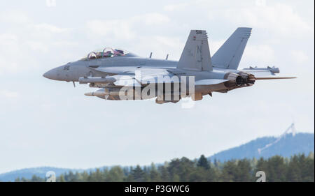 Boeing EA-18G Growler of the U.S. Navy flying in the Finnish Air Force 100th Anniversary Airshow at Tikkakoski, Finland. - Stock Image