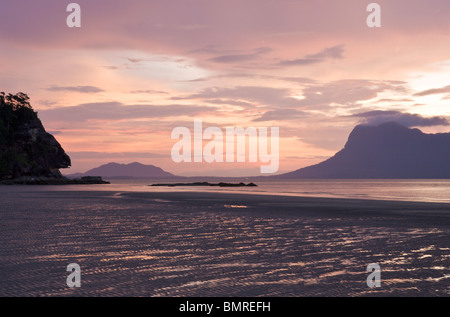 Sunset over South China Sea, Bako National Park, Borneo - Stock Image