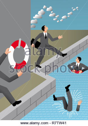 Businessmen with head in the clouds falling in water - Stock Image