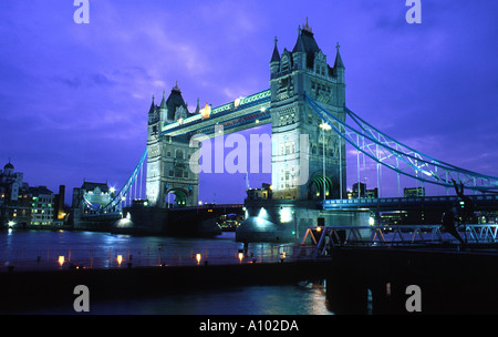 Tower Bridge London England at night - Stock Image