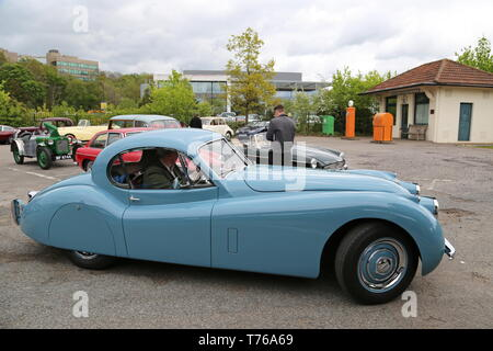 Jaguar XK120 Coupe (1954), British Marques Day, 28 April 2019, Brooklands Museum, Weybridge, Surrey, England, Great Britain, UK, Europe - Stock Image